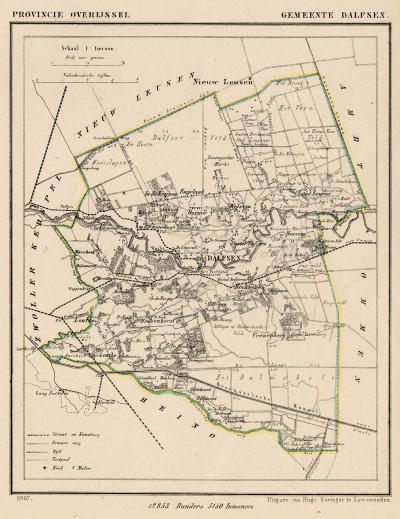Gemeente Dalfsen anno ca. 1870, kaart J. Kuijper (collectie www.atlasenkaart.nl)
