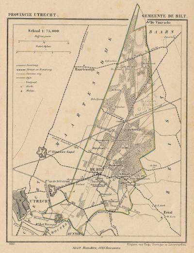 Gemeente De Bilt anno ca. 1870, kaart J. Kuijper (collectie www.atlasenkaart.nl)