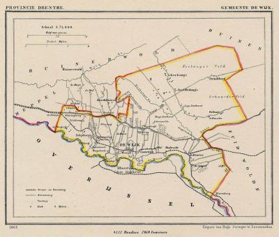 Gemeente de Wijk anno ca. 1870, kaart J. Kuijper (collectie www.atlasenkaart.nl)