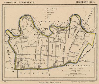 Gemeente Deil anno ca. 1870, kaart J. Kuijper