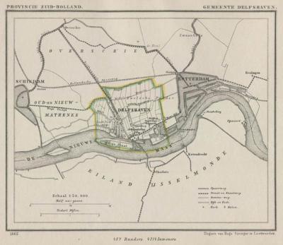 Gemeente Delfshaven anno ca. 1870, kaart J. Kuijper (collectie www.atlasenkaart.nl)