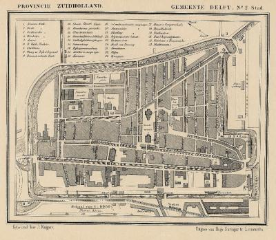 Gemeente Delft, plattegrond van de stad anno ca. 1870, kaart J. Kuijper (voor beide kaarten geldt: collectie www.atlasenkaart.nl)