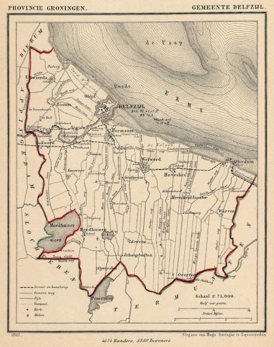 Gemeente Delfzijl anno ca. 1870, kaart J. Kuijper (collectie www.atlasenkaart.nl)