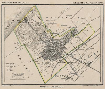 De gemeente Den Haag omvatte qua bebouwing rond 1870, zoals de meeste steden in die tijd, niet veel meer dan wat we nu het Centrum noemen. Plus het dorp Scheveningen natuurlijk. De gem. Loosduinen komt er pas in 1923 bij. (collectie www.atlasenkaart.nl)