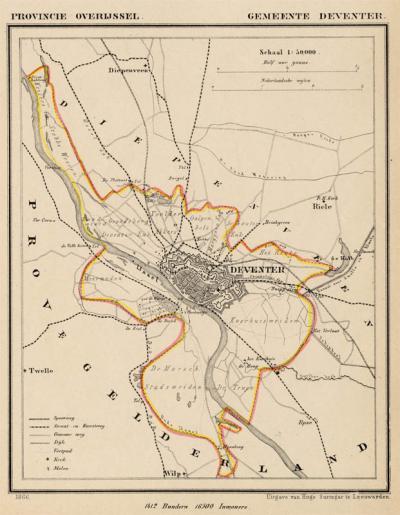 Gemeente Deventer anno ca. 1870, kaart J. Kuijper (collectie www.atlasenkaart.nl)
