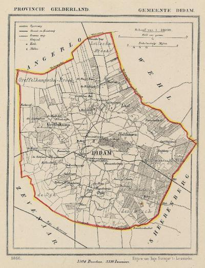 Gemeente Didam anno ca. 1870, kaart J. Kuijper