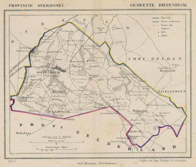 Gemeente Diepenheim anno ca. 1870, kaart J. Kuijper (collectie www.atlasenkaart.nl)