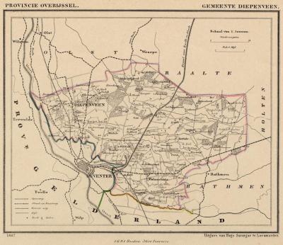 Gemeente Diepenveen anno ca. 1870, kaart J. Kuijper (© www.atlasenkaart.nl)