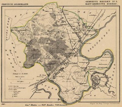 Kaart van de in 1818 opgeheven gemeente Dieren, situatie anno ca. 1870, kaart J. Kuijper