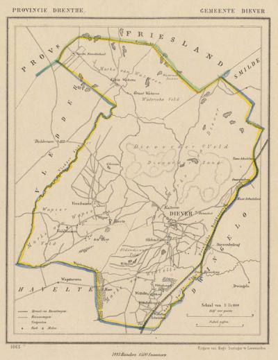 Gemeente Diever anno ca. 1870, kaart J. Kuijper (collectie www.atlasenkaart.nl)