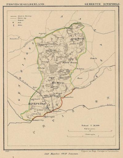Gemeente Dinxperlo anno ca. 1870, kaart J. Kuijper