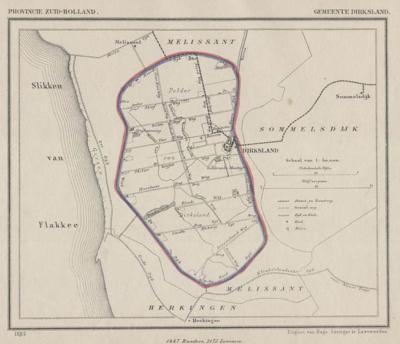 Gemeente Dirksland anno ca. 1870, kaart J. Kuijper