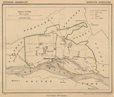 Gemeente Dodewaard anno ca. 1870, kaart J. Kuijper