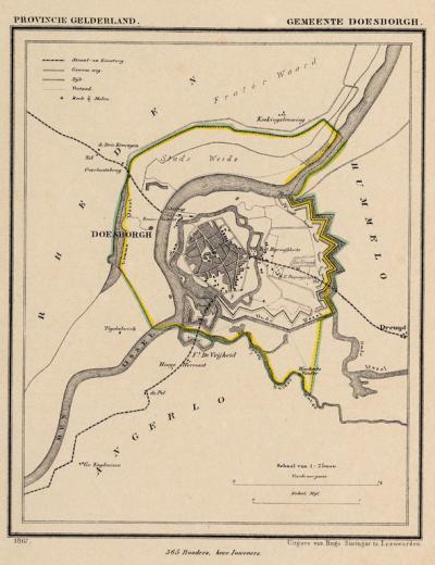 Gemeente Doesburg anno ca. 1870, kaart J. Kuijper