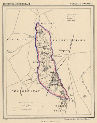 Gemeente Dommelen anno ca. 1870, kaart J. Kuijper (collectie www.atlasenkaart.nl)