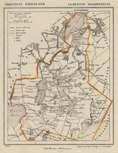 Gemeente Doniawerstal anno ca. 1870, kaart J. Kuijper (collectie www.atlasenkaart.nl)