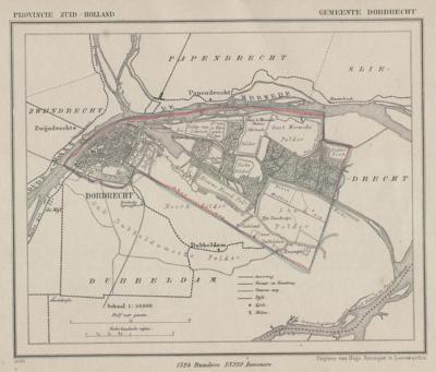 Gemeente Dordrecht anno ca. 1870, kaart J. Kuijper (collectie www.atlasenkaart.nl)