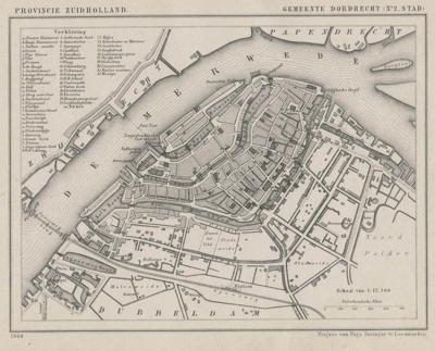 Stad Dordrecht anno ca. 1870, kaart J. Kuijper (collectie atlasenkaart.nl)