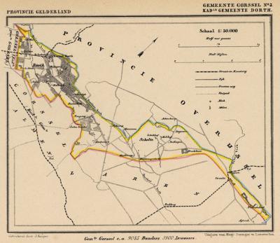 Kaart van de in 1831 opgeheven gemeente Dorth, situatie anno ca. 1870, kaart J. Kuijper