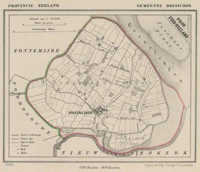 Gemeente Dreischor anno ca. 1870, kaart J. Kuijper (collectie www.atlasenkaart.nl)