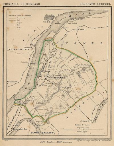 Gemeente Dreumel anno ca. 1870, kaart J. Kuijper (collectie www.atlasenkaart.nl)