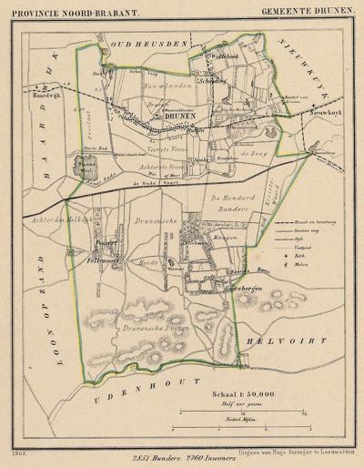 Gemeente Drunen anno ca. 1870, kaart J. Kuijper (collectie www.atlasenkaart.nl)