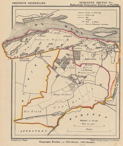 Gemeente Druten anno ca. 1870, kaart J. Kuijper, inclusief de in 1818 opgeheven gemeente Puiflijk, exclusief de in 1818 opgeheven gemeente Afferden