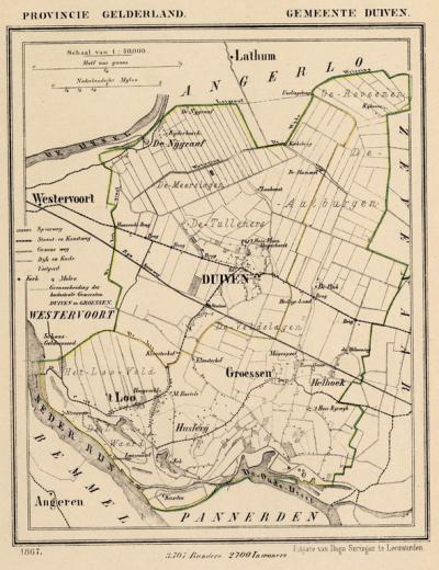 Gemeente Duiven anno ca. 1870, kaart J. Kuijper