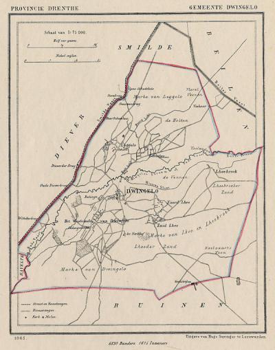 Gemeente Dwingeloo anno ca. 1870, kaart J. Kuijper (collectie www.atlasenkaart.nl)