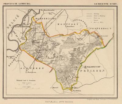 Gemeente Echt anno ca. 1870, kaart J. Kuijper (collectie www.atlasenkaart.nl)