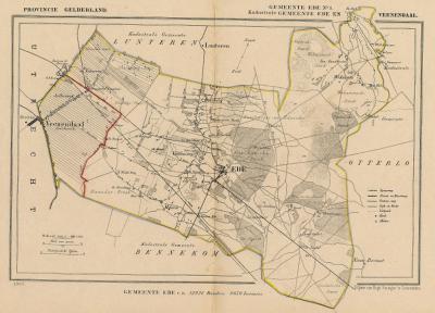 Gemeente Ede anno ca. 1870, kaart J. Kuijper, exclusief de in 1818 opgeheven gemeenten Bennekom, Lunteren en Otterlo