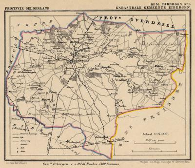 Gemeente Eibergen anno ca. 1870, kaart J. Kuijper, exclusief de in 1819 opgeheven gemeente Beltrum