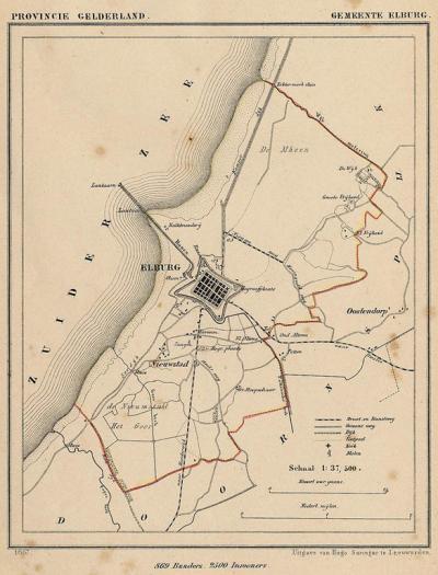 Gemeente Elburg anno ca. 1870, kaart J. Kuijper