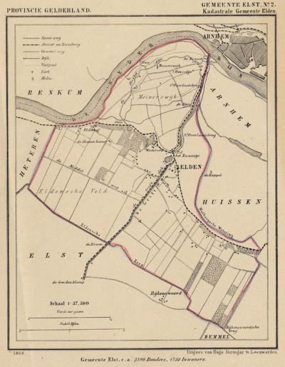 Kaart van de in 1818 opgeheven gemeente Elden, situatie anno ca. 1870, kaart J. Kuijper
