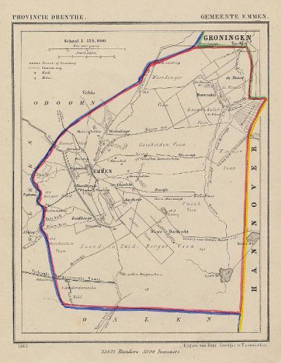 Gemeente Emmen anno ca. 1870, kaart J. Kuijper (collectie www.atlasenkaart.nl)