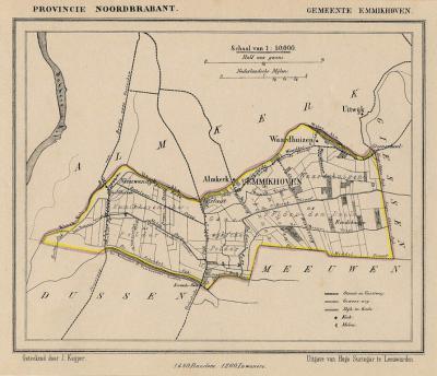 Gemeente Emmikhoven anno ca. 1870, kaart J. Kuijper