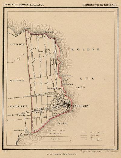 Gemeente Enkhuizen anno ca. 1870, kaart J. Kuijper (collectie www.atlasenkaart.nl)