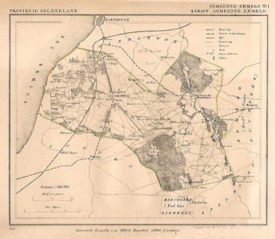 Gemeente Ermelo anno ca. 1870, kaart J. Kuijper, exclusief de in 1818 opgeheven gemeente Nunspeet (collectie www.atlasenkaart.nl)