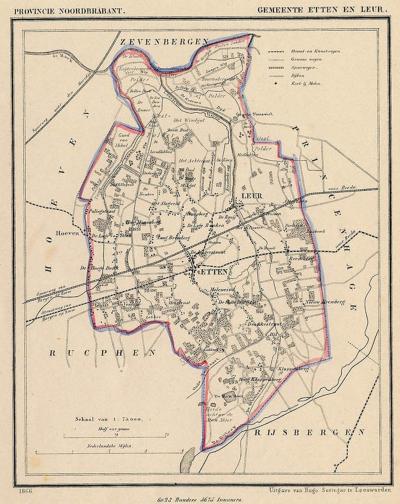 Gemeente Etten-Leur anno ca. 1870, kaart J. Kuijper (collectie www.atlasenkaart.nl)