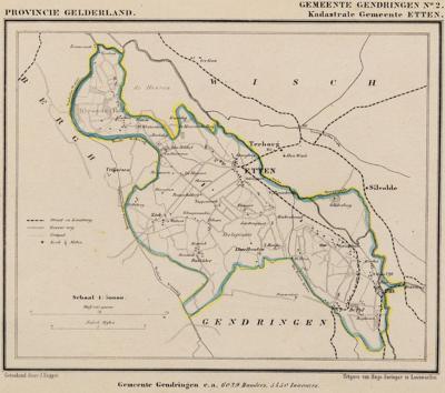 Kaart van de in 1818 opgeheven gemeente Etten, situatie anno ca. 1870, kaart J. Kuijper