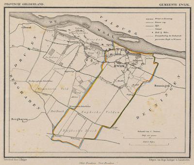 Gemeente Ewijk anno ca. 1870, kaart J. Kuijper