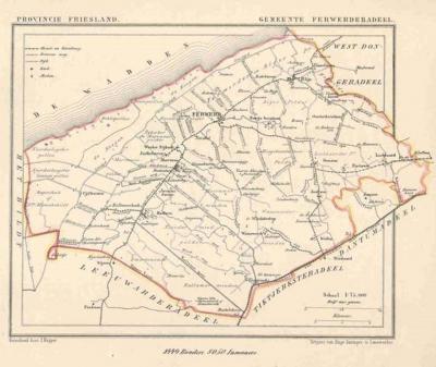 Gemeente Ferwerderadeel anno ca. 1870, kaart J. Kuijper (collectie www.atlasenkaart.nl)