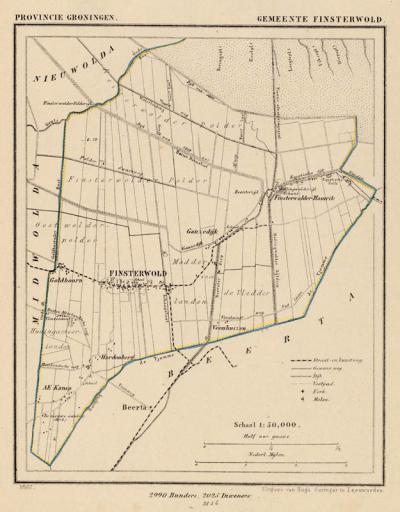 Gemeente Finsterwolde anno ca. 1870, kaart J. Kuijper (collectie www.atlasenkaart.nl)
