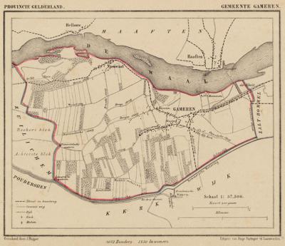 Gemeente Gameren anno ca. 1870, kaart J. Kuijper
