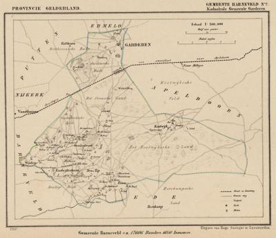 Kaart van de in 1818 opgeheven gemeente Garderen, situatie anno ca. 1870, kaart J. Kuijper
