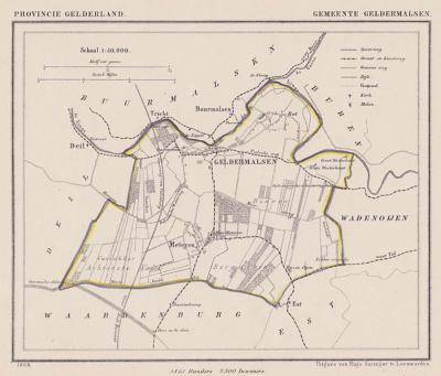 Gemeente Geldermalsen anno ca. 1870, kaart J. Kuijper
