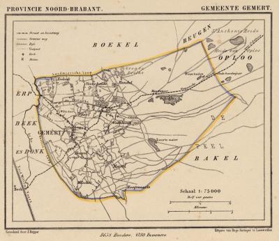 Gemeente Gemert anno ca. 1870, kaart J. Kuijper (© www.atlasenkaart.nl)