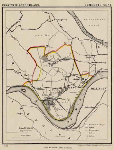 Gemeente Gendt anno ca. 1870, kaart J. Kuijper