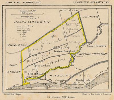 Gemeente Giessendam anno ca. 1870, kaart J. Kuijper (collectie Atlasenkaart.nl)