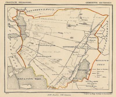 Gemeente Giethoorn anno ca. 1870, kaart J. Kuijper (collectie www.atlasenkaart.nl)